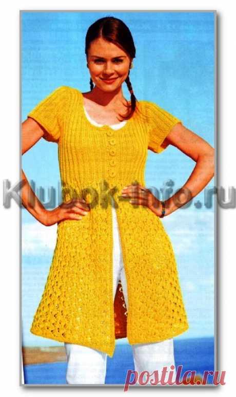 Вязание спицами. Женские модели. Удлиненный летний ажурный жакет на пуговицах и с короткими рукавами. Размеры: 36/38, 40/42