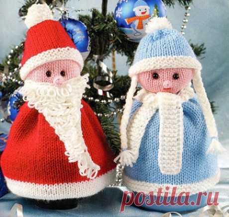 Дед Мороз и Снегурочка спицами