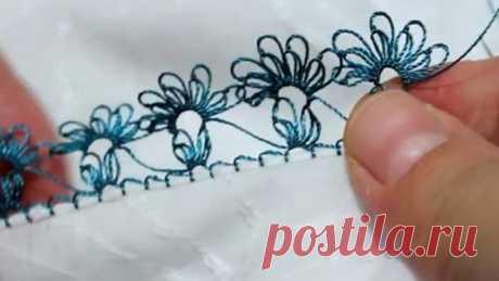 Турецкое игольное кружево ойяси (Oyasi). Урок № 20: голубой цветок
