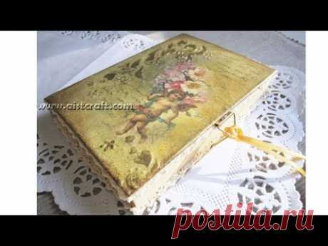 Decoupage cover notebook tutorial - DIY - Vintage style - YouTube