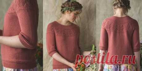 Пуловер с круглой кокеткой Rose Bush  Вязание спицами для женщин пуловера с ажурной круглой кокеткой сверху вниз без швов, схема и описание.