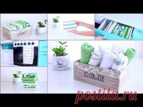 10 способов организации хранения кухонных полотенец и тряпок/как сложить полотенца