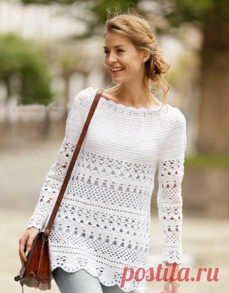 Ажурный пуловер с круглой плотной — Три Руки — мир эксклюзивных вещей
