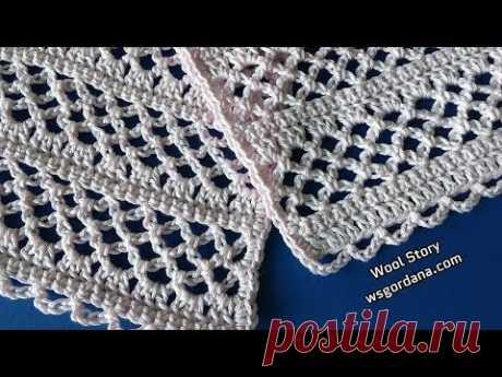 DIY Crochet Scarf Lace Pattern (Heklani čipkani pamučni šal)