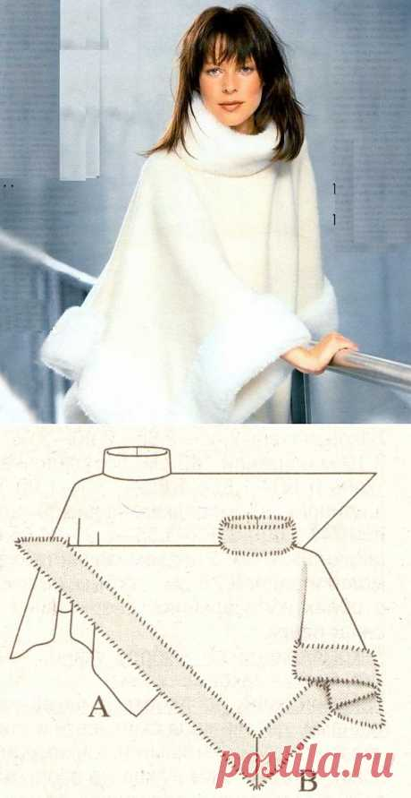 великолепное ПОНЧО с меховой отделкой - И тепло, и стильно!.
