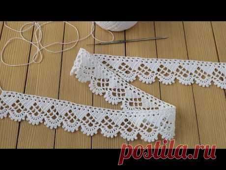 КРУЖЕВО простое вязание крючком МАСТЕР-КЛАСС для начинающих КАЙМА Easy to Crochet Tape Lace pattern - YouTube