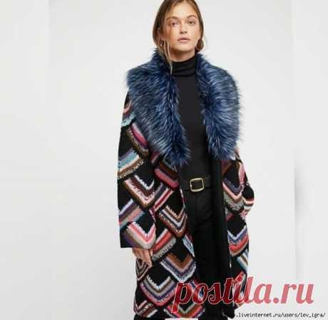 пальто вязаное крючком - пэчворк