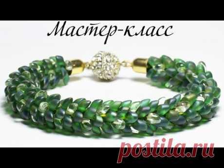 """🐉 Браслет """"Зеленый Дракон"""" в технике Кумихимо + Магатама / DIY: bracelet """"Green Dragon"""". Kumihimo"""