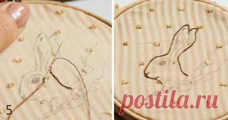 Вышитая брошка с пасхальным зайкой и веточкой вербы | Журнал Ярмарки Мастеров Вышивка которую я люблю