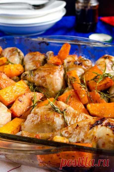 Курица с тыквой запеченная в духовке | Другая Кухня /Дневник фудблогера | Яндекс Дзен