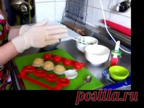 Картофельные шарики с начинкой (шпинат+сыр)