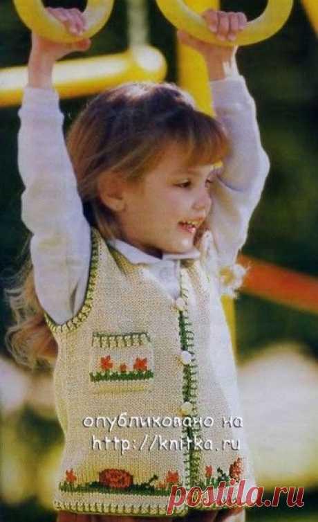 18 моделей жилетов для девочки спицами с описанием, Вязание для детей