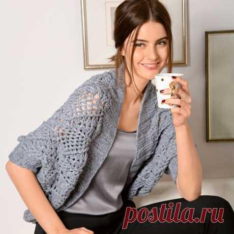 Серый ажурный жакет болеро - схема вязания крючком с описанием на Verena.ru