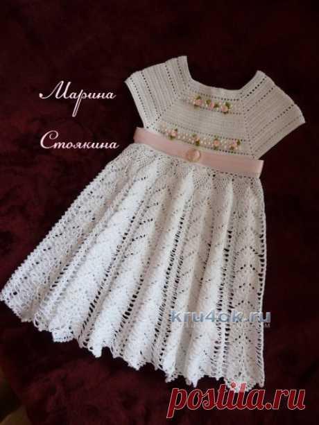 Платье и шапочка для девочки – работа Марины Стоякиной - вязание крючком на kru4ok.ru