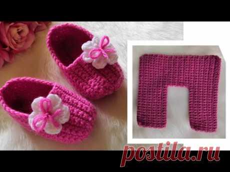 جديد وحصري!! حذاء كروشيه بقطعه واحده لأي مقاس crochet easy slippers