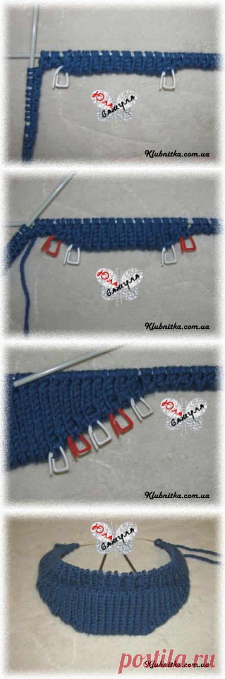 МК вязание козырька для кепки/шапки/берета спицами
