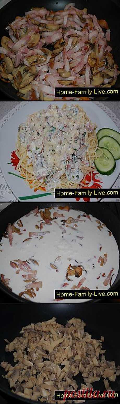 Кулинарные рецепты Спагетти под грибным соусом - пошаговый фоторецпт - макароны с грибами