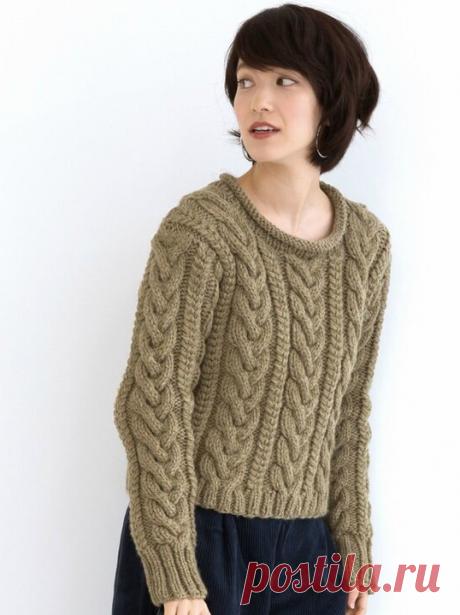 Японский пуловер с косами - схема на японском | Модная Я