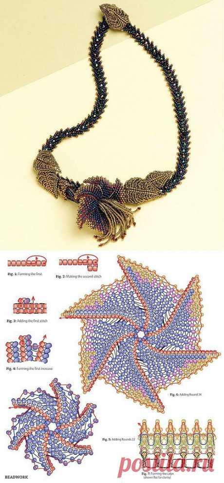 Колье с лилией / Колье, бусы, ожерелья / Biserok.org