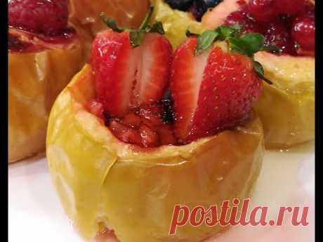 Яблоки запеченные с ягодами!  Побалуйте своих близких запеченными яблоками с добавлением ягод!