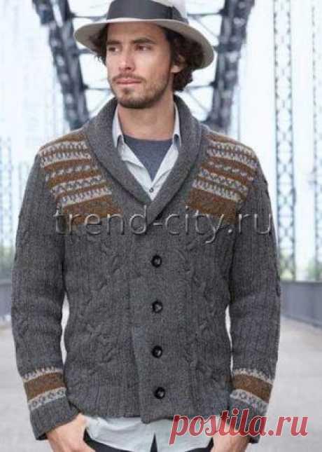 Классический мужской кардиган спицами в журнале по рукоделию trend-city.ru