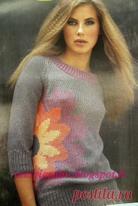 ВСЕ СВЯЗАНО. ROSOMAHA.: Летний пуловер с бутоном цветка.