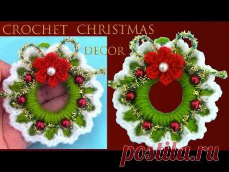 Como hacer corona de Navidad tejida a crochet Christmas decor three