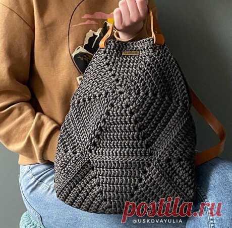 Вязаная сумка-рюкзак крючком. Сумка-рюкзак из полиэфирного шнура. | Sinitsa говорит о рукоделии | Яндекс Дзен