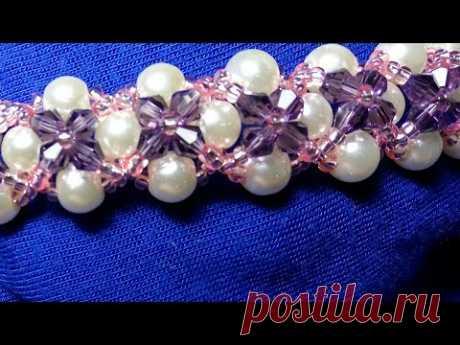 Браслет из бусин и биконусов. Bracelet of their beads and bicones. حبة وخاتم سوار