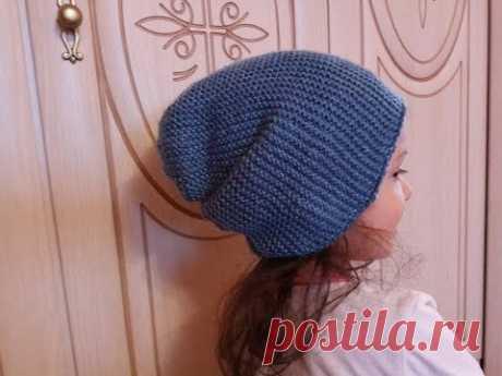 Популярная шапка бини спицами МК для начинающих из пряжи Every day new tweed