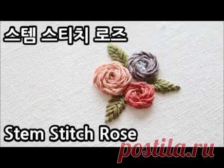 [ENG CC]블랑주니의 프랑스자수 - 스템 스티치 로즈 Stem Stitch Rose