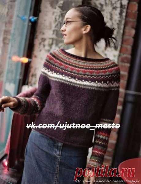 Пуловер с круглой жаккардовой кокеткой спицами  #пуловер_спицами@ujutnoe_mesto_vjazanie