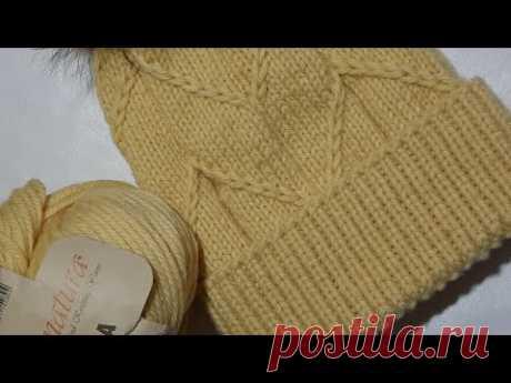 Вяжем модную шапку на осень-зима!!! Шапка спицами. Подробный МАСТЕР КЛАСС