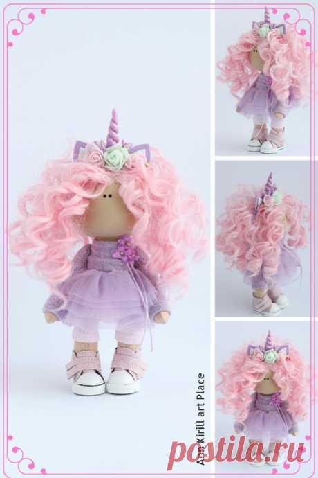 Unicorn Rag Doll Textile Tilda Doll Interior Art Doll | Etsy