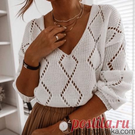 Пуловер с v-образным вырезом спицами. Модное вязание спицами для женщин с описанием