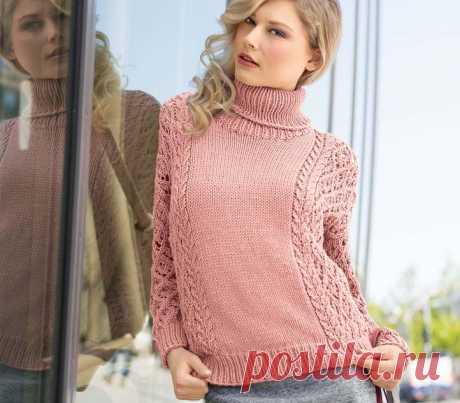 Свитер с ажурными рукавами - Knitting.Klubok.ru.com