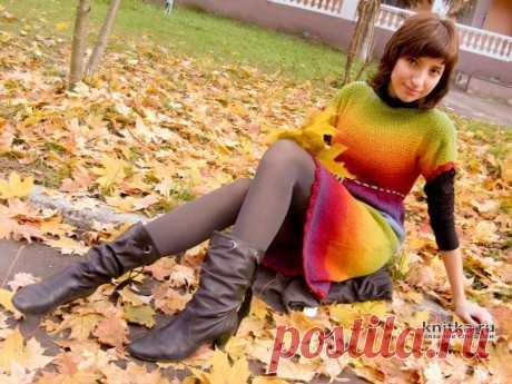 Осенний блюз – платье спицами из секционной пряжи Кауни. Работа Светланы, Вязание для женщин