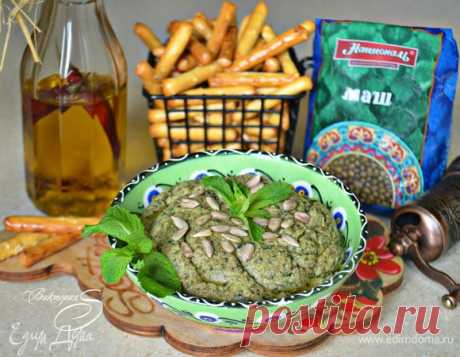Хумус из маша с семенами подсолнечника. Ингредиенты: маш, вода, мята