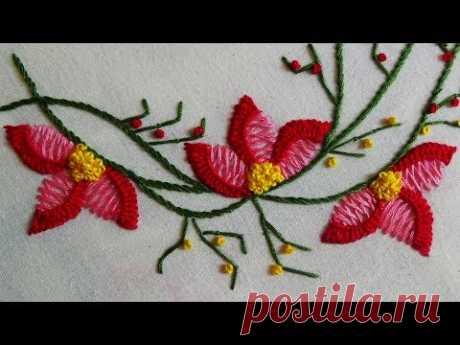 Hand Embroidery: Boat Neckline Embroidery