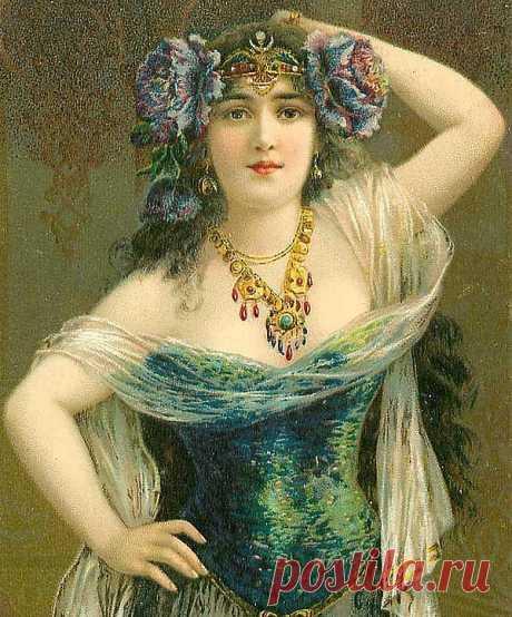 Женский образ на старых открытках - Графикон Арт