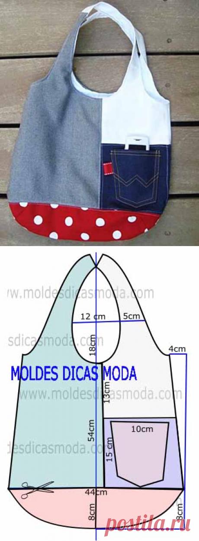 Выкройка пляжной сумки с кармашком
