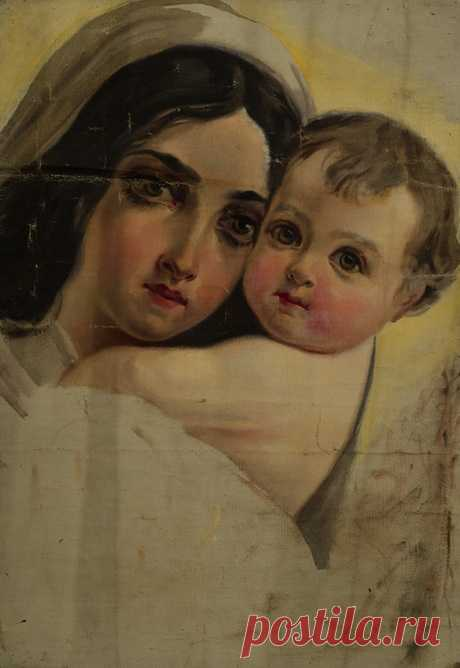 Ֆեթվաճյան Արշակ Աբրահամի (1863 - 1947) Կնոջ և մանկան գլխանկար ,կտավ, յուղաներկ 63x44 սմ ,Տեղագրություն: Ֆոնդապահոց