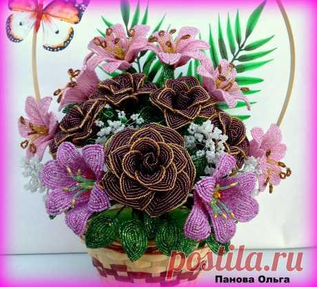 Корзинка с розами и лилиями.Необычайно красивый подарок