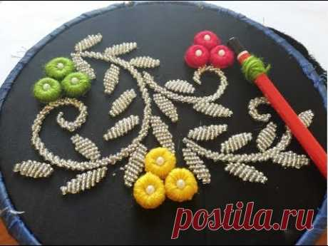 hand embroidry:ring embroidery with beads.