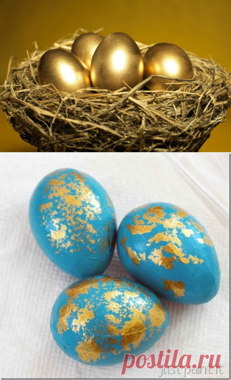 Creative coloring of eggs. Technology of gilding