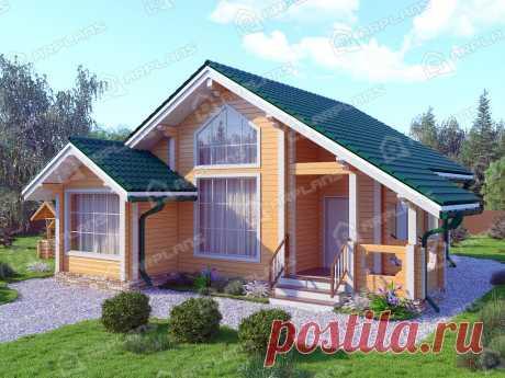 Проект одноэтажного деревянного дома 70 кв м с 2 спальнями [10х10 ]