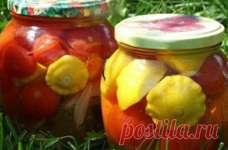 Патиссоны, маринованные с помидорами (заготовки, без стерилизации) — Бабушкины секреты