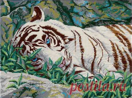 """Схема для полной вышивки бисером - """"Белый тигр"""": продажа, цена в Мариуполе. бисерное рукоделие от """"МИКаА - схемы для вышивки бисером"""" - 51351222"""