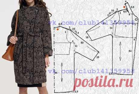 1d979e9bbef Пальто прямого силуэта с цельнокроеными рукавами