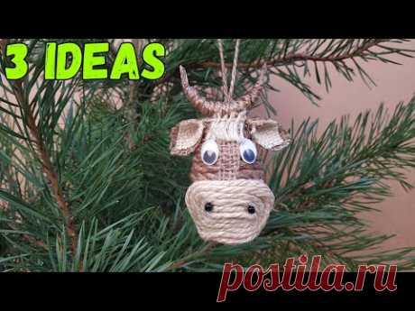 БЫК из джута и пластиковой ложки. 3 Идеи новогодних поделок